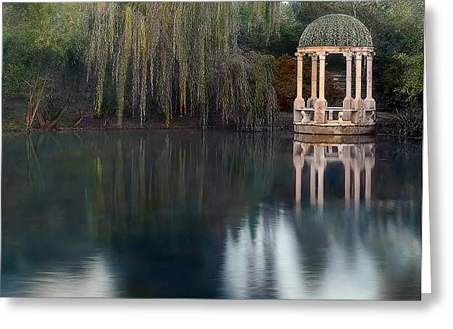 Trellis Photographs Greeting Cards - Gazebo and Lake Greeting Card by Terry Reynoldson
