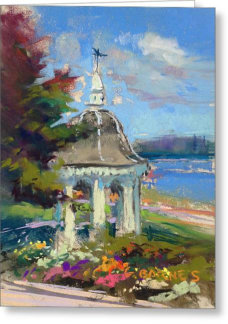 Maine Landscape Pastels Greeting Cards - Gazebo Flowers Greeting Card by Greg Barnes