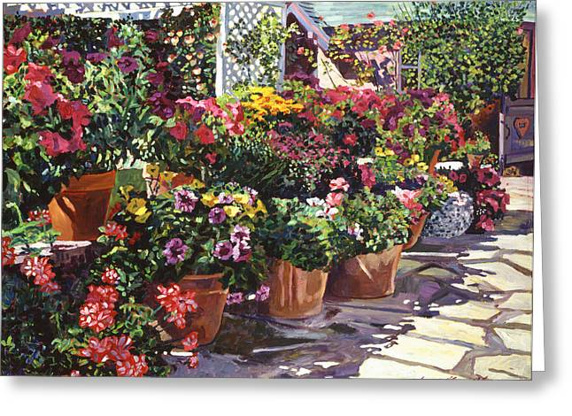 Trellis Paintings Greeting Cards - Gazebo Garden Greeting Card by David Lloyd Glover