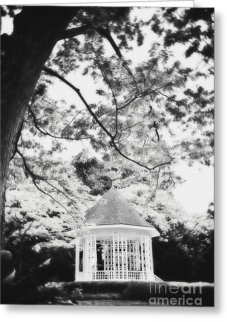 Bandstand Greeting Cards - Gazebo in monochrome Greeting Card by Ivy Ho