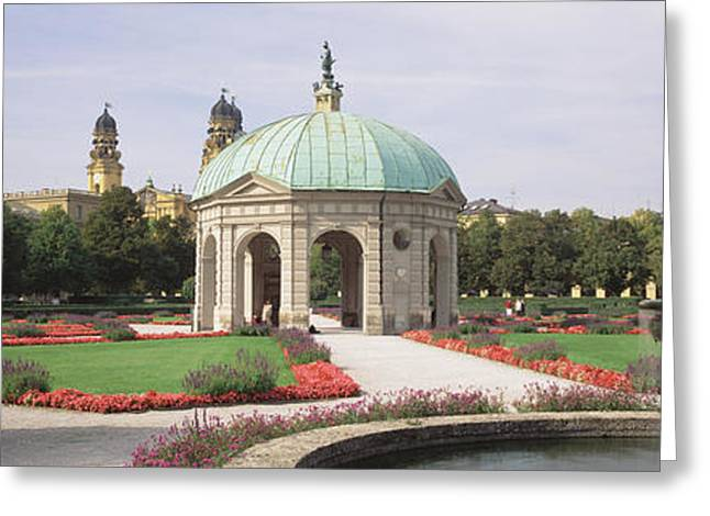 Garden Scene Greeting Cards - Gazebo In The Garden, Hofgarten Greeting Card by Panoramic Images