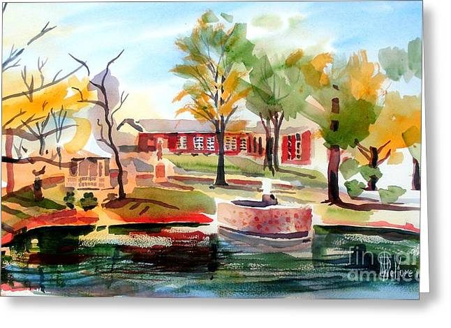 Autumn Scenes Greeting Cards - Gazebo Pond and Duck II Greeting Card by Kip DeVore
