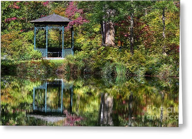 Nature Center Pond Greeting Cards - Gazebo Retreat Greeting Card by John Greim