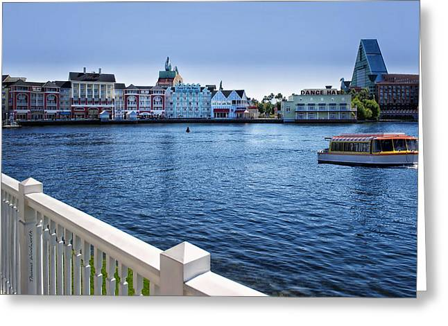 Magical Place Photographs Greeting Cards - Gazebo View Of The Boardwalk Walt Disney World Greeting Card by Thomas Woolworth