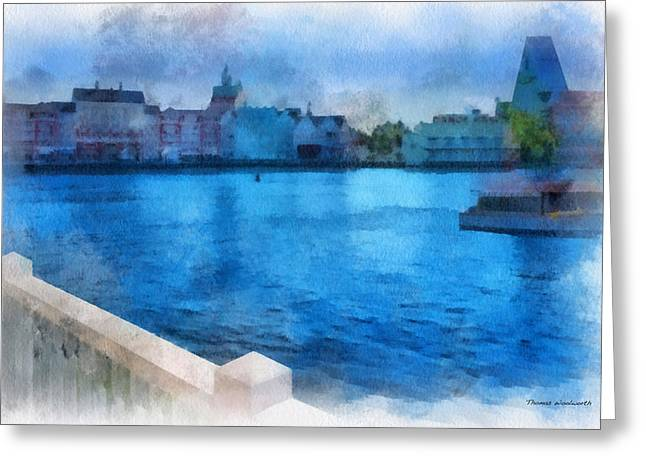 Hospital Theme Greeting Cards - Gazebo View Of The Boardwalk WDW 01 Photo Art Greeting Card by Thomas Woolworth