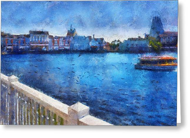 Hospital Theme Greeting Cards - Gazebo View Of The Boardwalk WDW 02 Photo Art Greeting Card by Thomas Woolworth