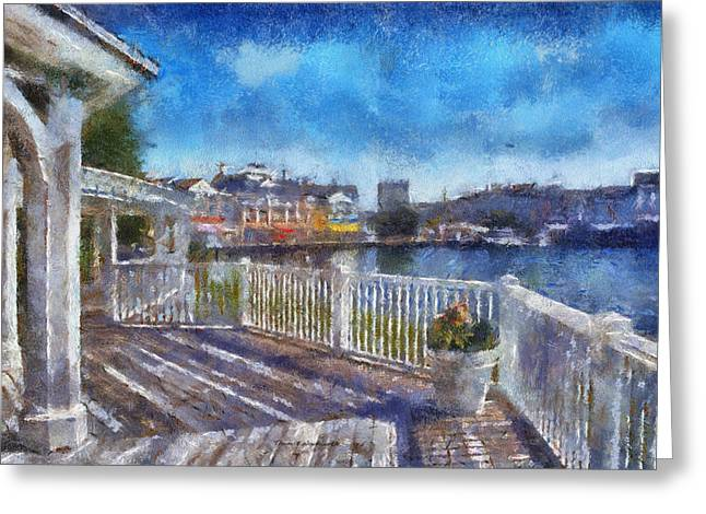Hospital Theme Greeting Cards - Gazebo View Of The Boardwalk WDW 03 Photo Art Greeting Card by Thomas Woolworth