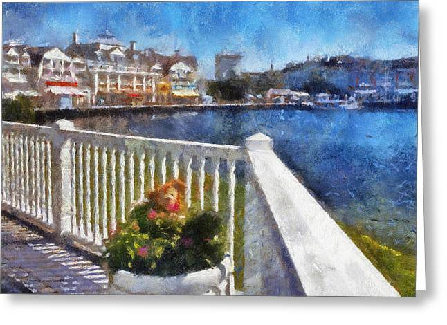 Hospital Theme Greeting Cards - Gazebo View Of The Boardwalk WDW 04 Photo Art Greeting Card by Thomas Woolworth