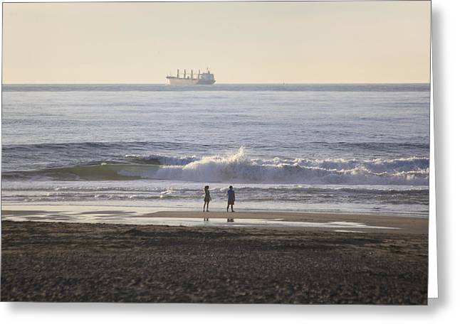 Couple On Beach Greeting Cards - Gazing at the Sea Greeting Card by Hans Mauli