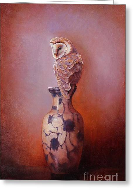Gazing - Barn Owl Greeting Card by Lori  McNee