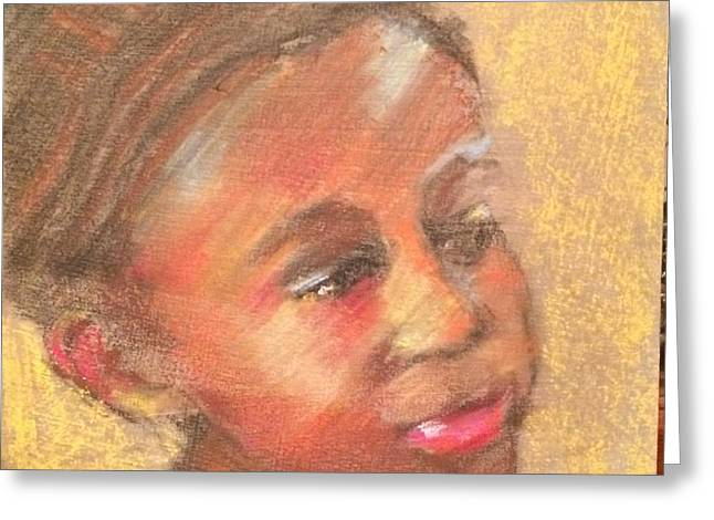 African-americans Pastels Greeting Cards - Gazing Study Greeting Card by Carol Berning