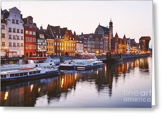 Polish Culture Greeting Cards - Gdansk town the shore of the river Motlawa Greeting Card by Miroslaw Oslizlo