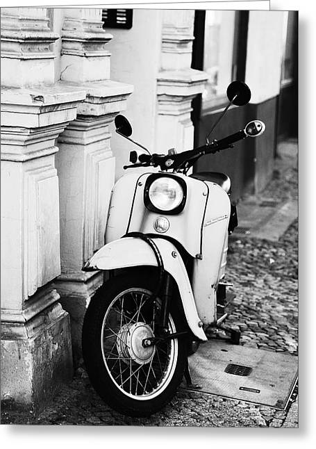 Ddr Greeting Cards - GDR black and white motor scooters Greeting Card by Falko Follert
