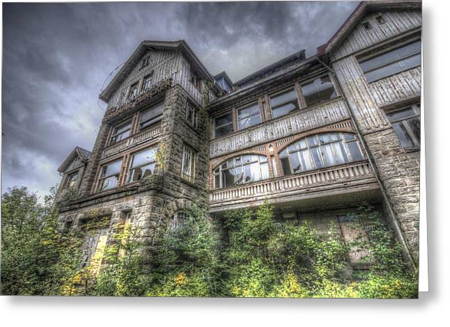 Creepy Digital Greeting Cards - GDR hotel front Greeting Card by Nathan Wright