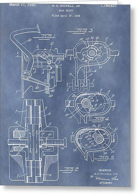Car Part Mixed Media Greeting Cards - Gear Shift Patent Greeting Card by Dan Sproul
