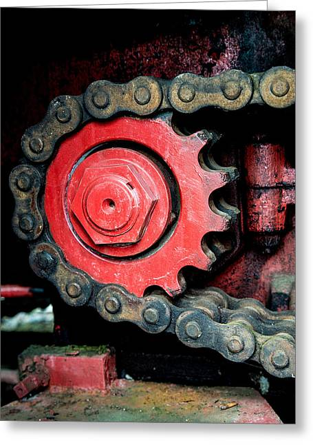 Gears Wheel Greeting Cards - Gear wheel and chain of old locomotive Greeting Card by Matthias Hauser