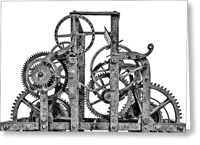 Large Clock Greeting Cards - Gear wheels of a medieval church clock 1 of 3 Greeting Card by Martin Bergsma