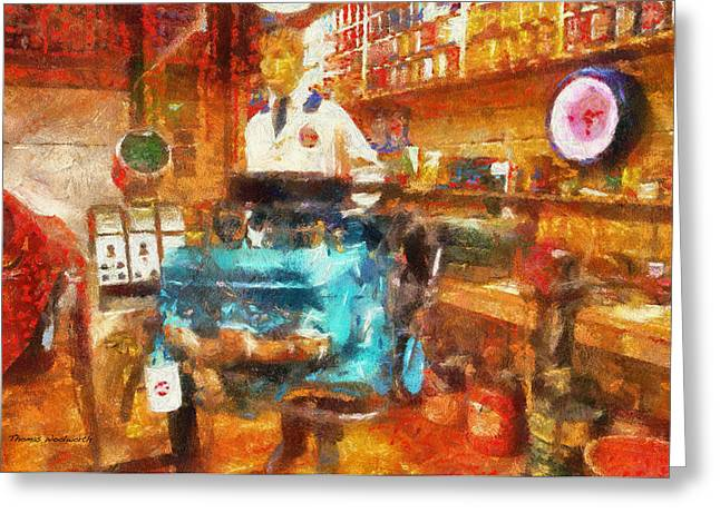 ist Working Photo Digital Greeting Cards - Gearhead Workshop Photo Art Greeting Card by Thomas Woolworth