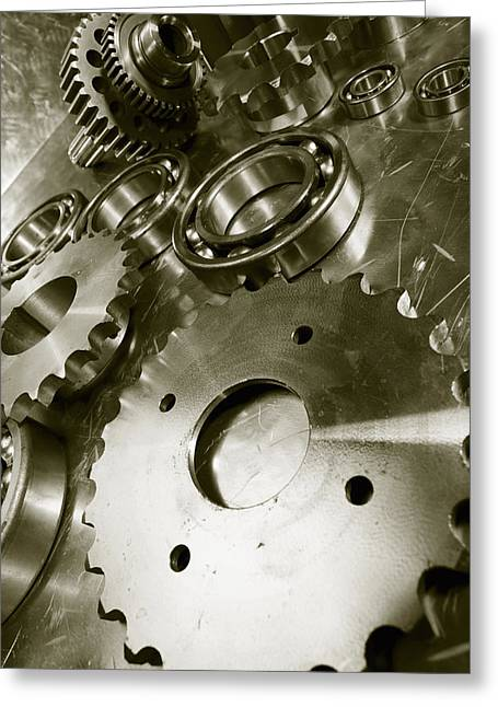 Stainless Steel Greeting Cards - Gears And Aerospace Engineering Parts Greeting Card by Christian Lagereek