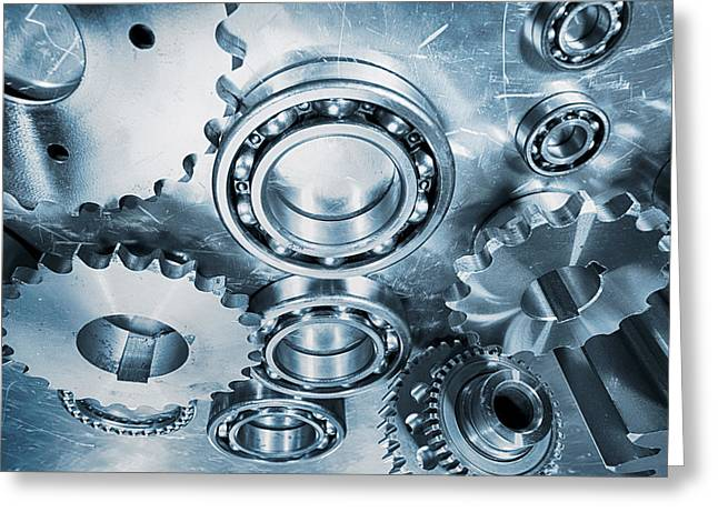Stainless Steel Greeting Cards - Gears And Cogs Of Special Titanium Greeting Card by Christian Lagereek