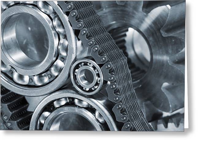 gears and cogs titanium and steel power Greeting Card by Christian Lagereek
