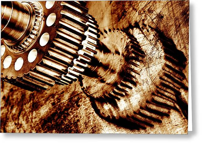 Stainless Steel Greeting Cards - Gears And Cogwheel Greeting Card by Christian Lagereek