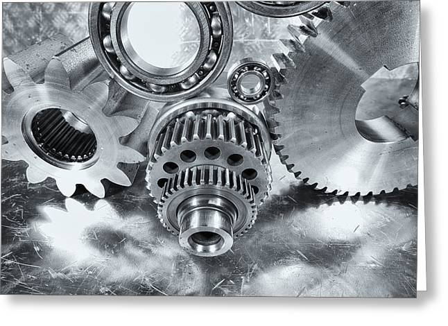 Stainless Steel Greeting Cards - Gears And Cogwheels Aerospace Parts For Rockets Greeting Card by Christian Lagereek