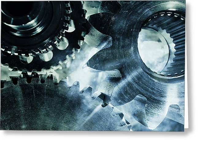 Stainless Steel Greeting Cards - Gears And Cogwheels Greeting Card by Christian Lagereek
