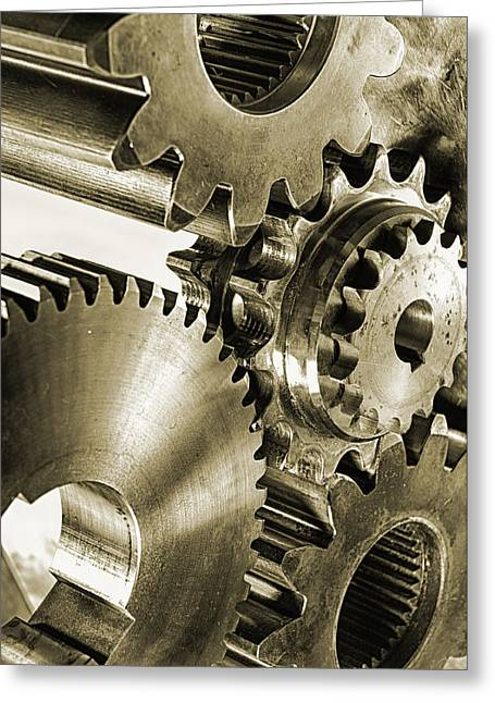 Gears Wheel Greeting Cards - Gears And Cogwheels In Antique Look Greeting Card by Christian Lagereek