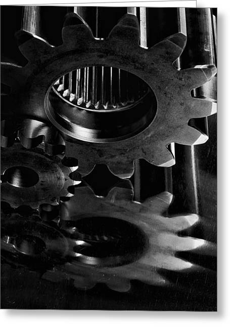 Stainless Steel Greeting Cards - Gears And Cogwheels In Black And White Satin  Greeting Card by Christian Lagereek