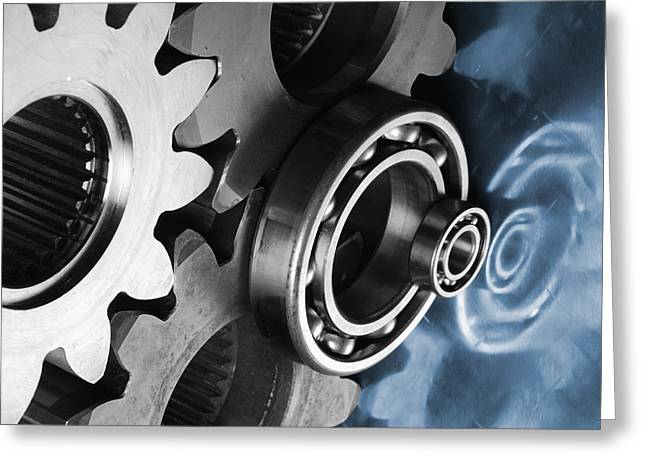Gears Wheel Greeting Cards - Gears And Cogwheels Reflection Greeting Card by Christian Lagereek