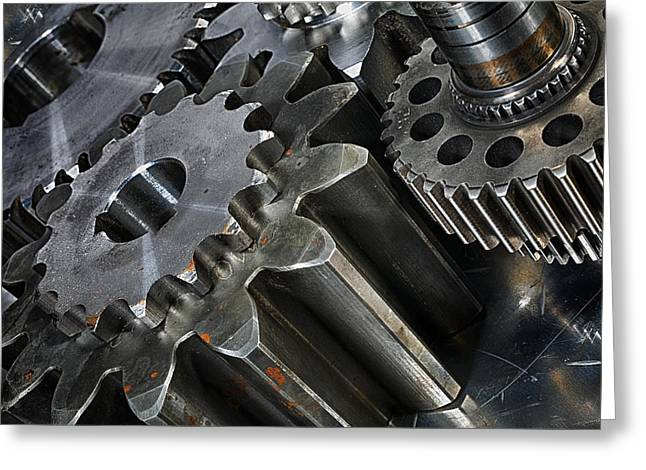 Stainless Steel Greeting Cards - Gears And Engineering Parts Greeting Card by Christian Lagereek