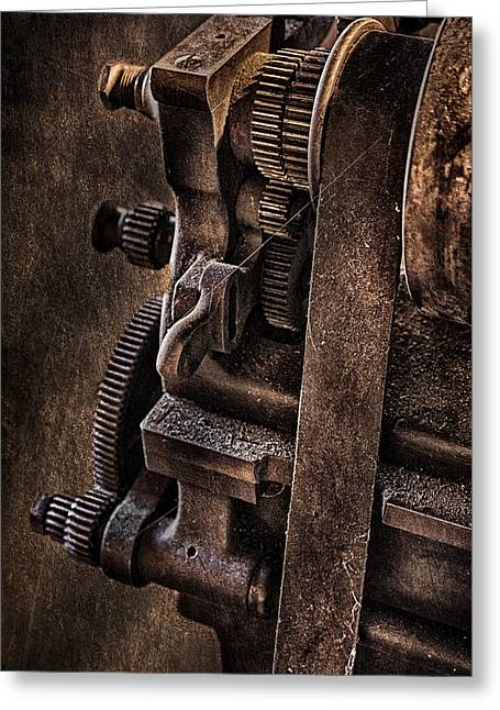 Tools Greeting Cards - Gears And Pulley Greeting Card by Susan Candelario