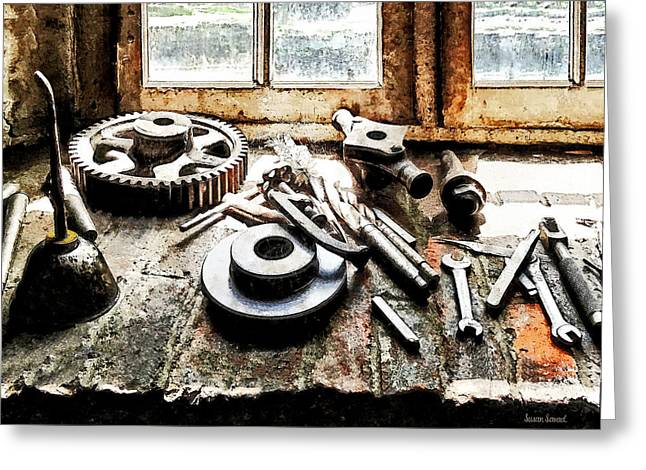 Steam Punk Greeting Cards - Gears and Wrenches in Machine Shop Greeting Card by Susan Savad