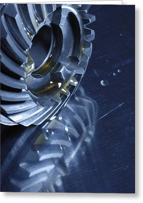 Stainless Steel Greeting Cards - Gears Cogs And Oil Greeting Card by Christian Lagereek