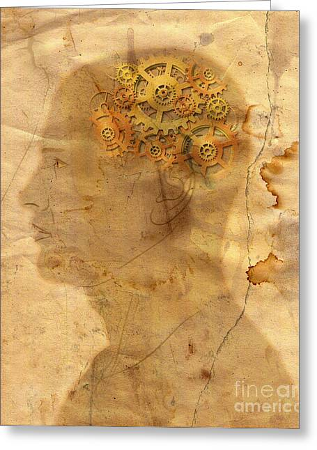 Cog Greeting Cards - Gears In The Head Greeting Card by Michal Boubin