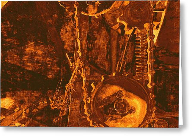 Gears in Yellow Greeting Card by Ann Powell