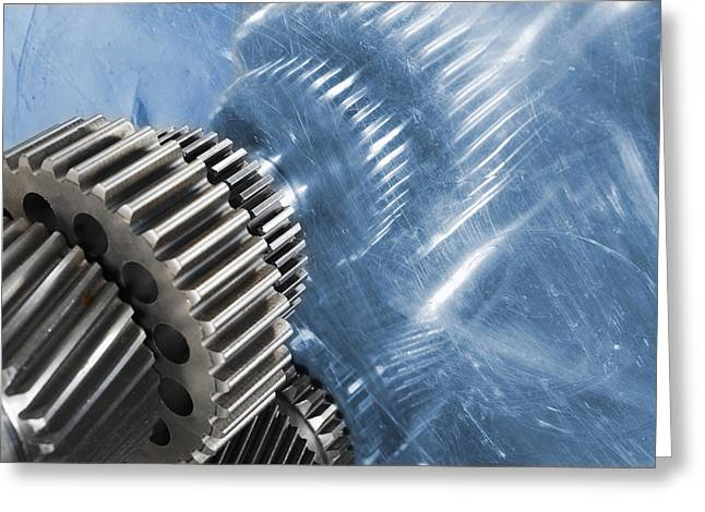Stainless Steel Greeting Cards - Gears Industrial Engineering In Blue Greeting Card by Christian Lagereek