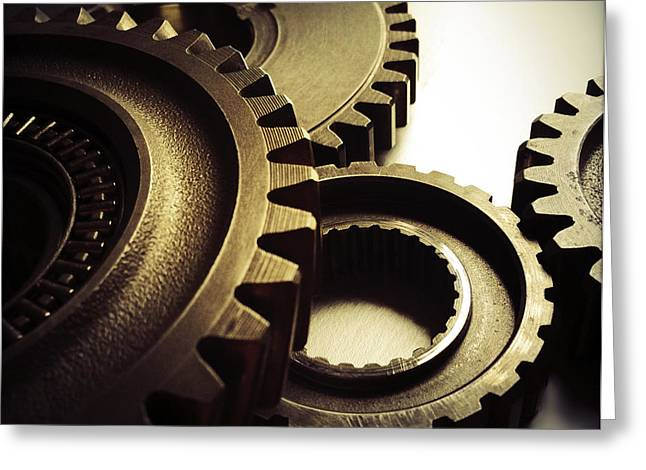 Cog Greeting Cards - Gears Greeting Card by Les Cunliffe