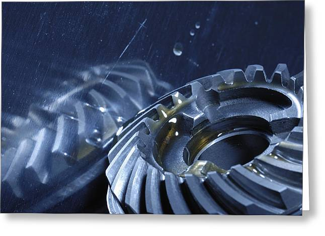 Stainless Steel Greeting Cards - Gears Mirrored In Titanium Greeting Card by Christian Lagereek