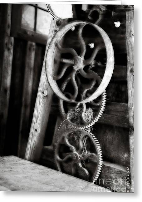 Geometric Image Greeting Cards - Gears Greeting Card by Nancy E Stein