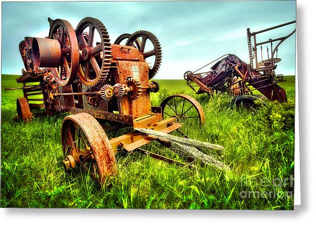 Pasture Framed Prints Greeting Cards - Gears of the Past I - Blue Ridge Greeting Card by Dan Carmichael