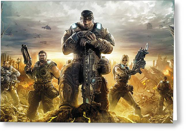 Gear Greeting Cards - Gears Of War Artwork Greeting Card by Sheraz A