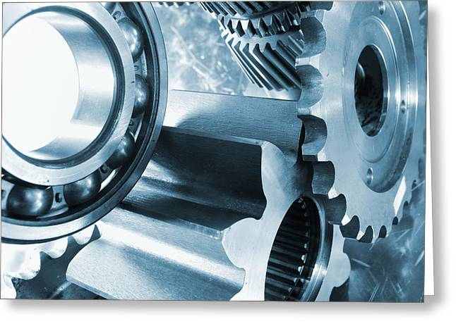 Stainless Steel Greeting Cards - Gears Steel And Titanium Power Greeting Card by Christian Lagereek