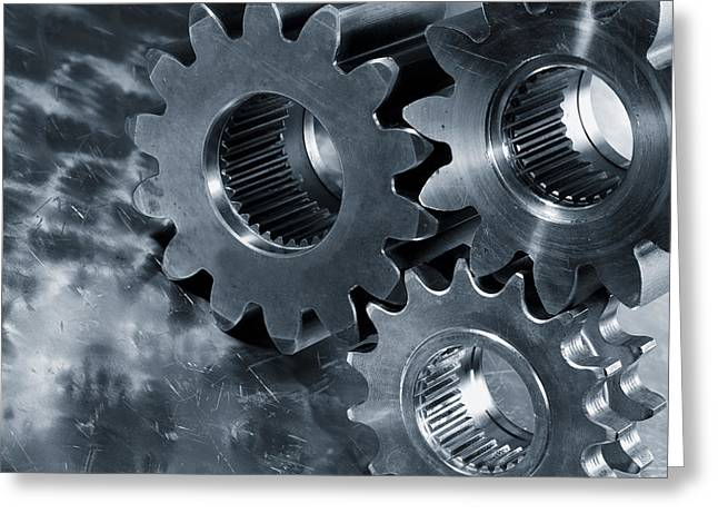 Stainless Steel Greeting Cards - Gears Titanium And Steel Greeting Card by Christian Lagereek