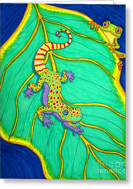 Colorful Creatures Drawings Greeting Cards - Gecko and Frog Greeting Card by Nick Gustafson