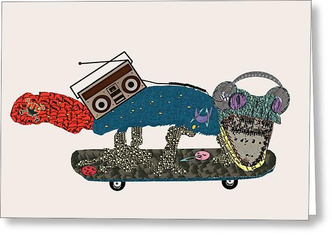 Skateboard Print Greeting Cards - Gecko Blaster Greeting Card by Bri Buckley