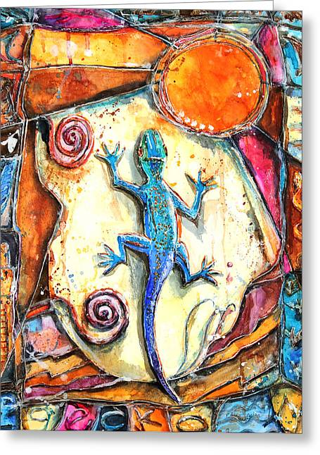 Patricia Mixed Media Greeting Cards - Gecko Greeting Card by Patricia Allingham Carlson