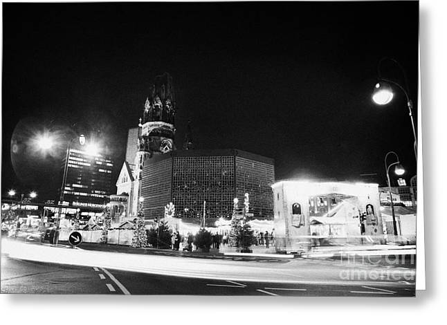 Berlin Germany Greeting Cards - Gedachtniskirche christmas market on kudamm Berlin Germany Greeting Card by Joe Fox