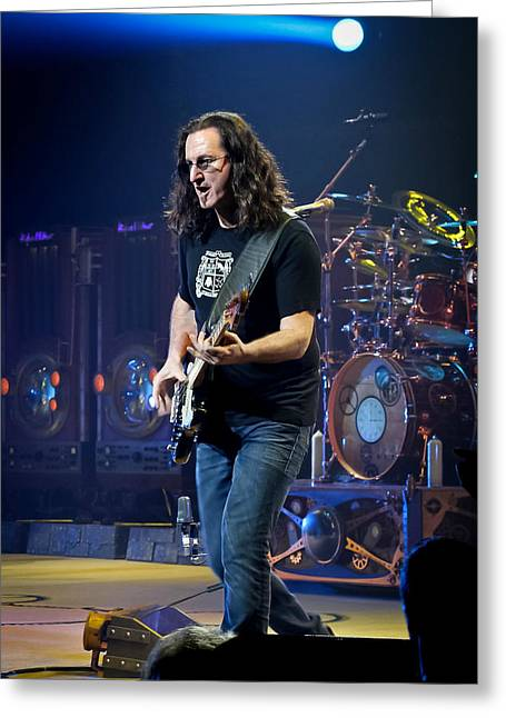 Stage Lights Greeting Cards - Geddy Lee Greeting Card by April Reppucci